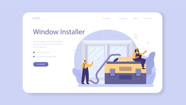 Worker in uniform install window web template or landing page. professional service, repairman team. construction service, house renovation.