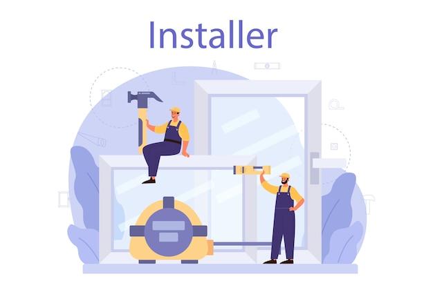 Worker in uniform install windows illustration