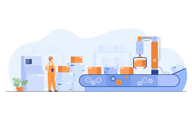 작업자 상자 격리 된 평면 벡터 일러스트와 함께 컨베이어를보고. 자동화 프로세스와 창고에 서있는 만화 남자.