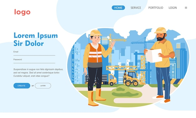 Worker wearing safety helmet working at construction sit with many heavy equipment landing page
