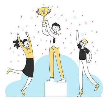 Worker winning best employee cup illustration