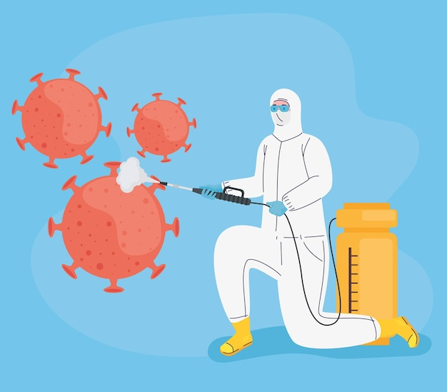 Worker with biohazard suit disinfecting and  particles  illustration