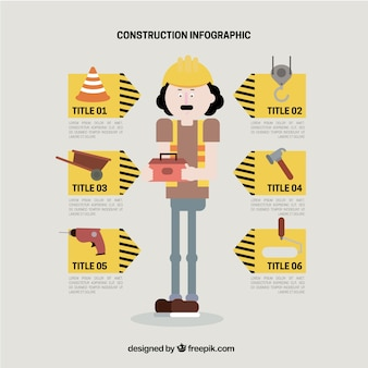 플랫 스타일의 건물 요소와 노동자
