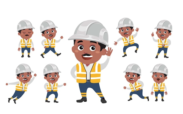 Worker with different poses.