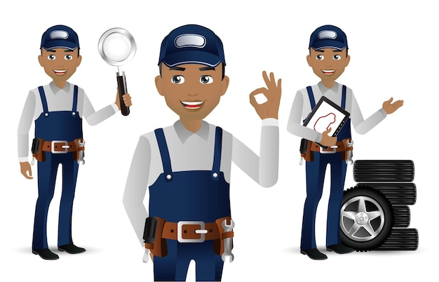 Worker with different poses