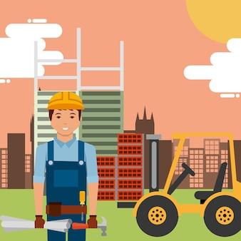 Worker with hammer blueprint