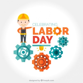 Worker with mechanism labor day background