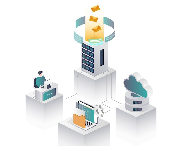 Worker with server and cloud in isometric illustration