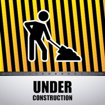 Worker with shovel  isolated icon design