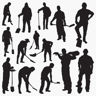 Worker with spade silhouettes