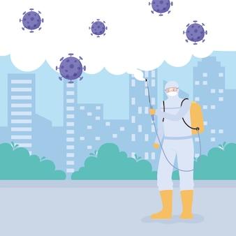 Работник со спреем для очистки и дезинфекции вируса, коронавируса covid 19, превентивных мер