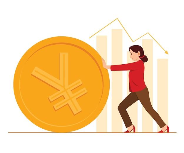 労働者の女性は、背景に中国人民元通貨と棒グラフの大きなコインを押します。