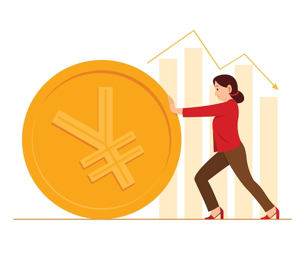 Worker woman push a big coin of chinese yuan currency and the bar charts on background.