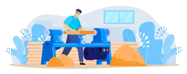 Worker works on turning lathe vector illustration. cartoon flat turner carpenter character working, cutting wooden timber planks with lathe machine in workshop