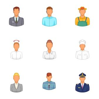 Workers avatar set, cartoon style