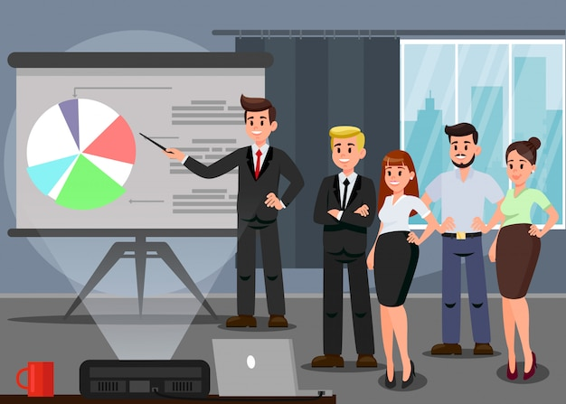 Workers at business conference flat illustration