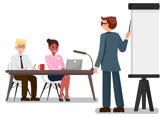 Workers on business meeting vector illustration