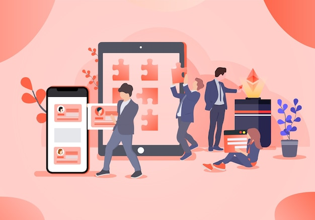 Workers in business office illustration