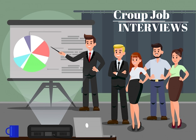 Workers at business seminar vector illustration