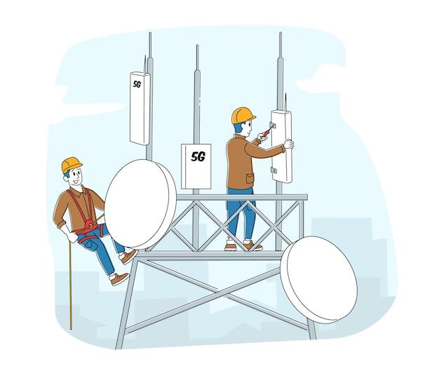 制服とヘルメットをかぶった労働者のキャラクターが5gインターネット用の機器を設置