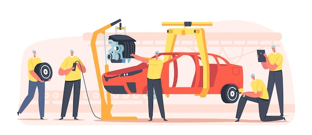 Workers characters on car production line on plant, vehicle manufacture factory auto body assembly with people manage automobile building process. transport engineering. cartoon vector illustration