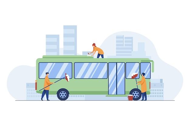 노동자 청소 및 세척 버스. 차량, 세제, 작업 평면 벡터 일러스트 레이 션. 서비스 및 대중 교통