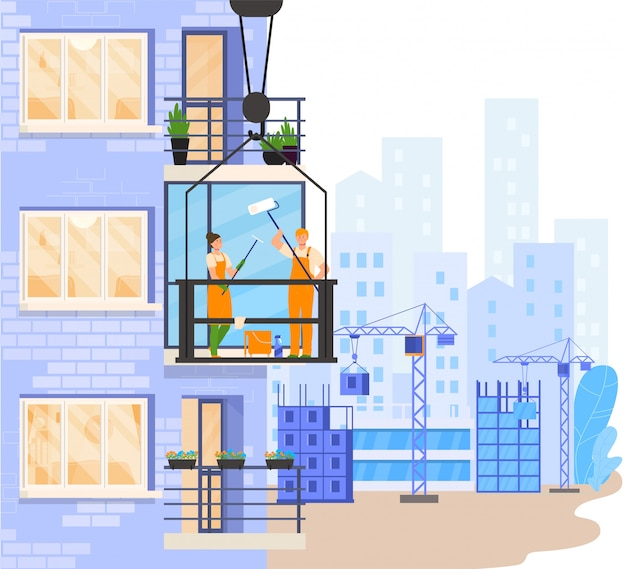 Workers cleaning balcony window outside building, people illustration