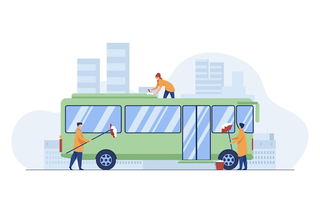 Workers cleaning and washing bus. vehicle, detergent, work flat vector illustration. service and public transport