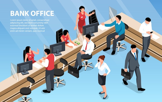 Workers and clients at bank office illustration