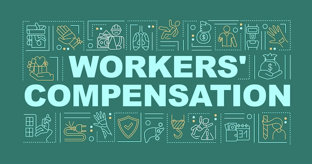 Workers compensation program word concepts banner.