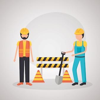 Workers construction equipment