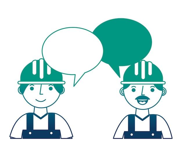 労働者の建設肖像画会話泡