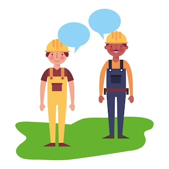 Workers contruction in overalls talking vector illustration
