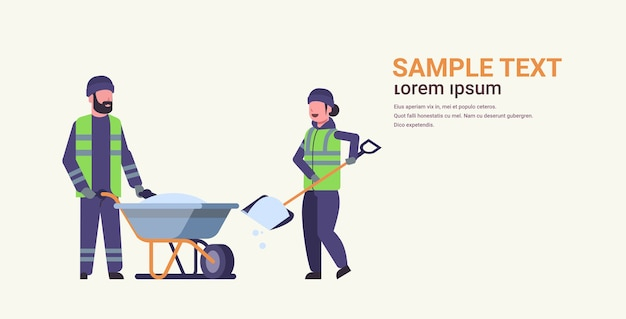 Workers couple in uniform using shovel and wheelbarrow winter snow removal concept woman man working together cleaning service flat full length horizontal copy space vector illustration