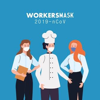 Covid 19イラストデザイン中に医療マスクを身に着けている労働者の女性