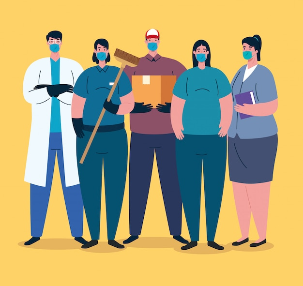 Workers group using medical masks for covid 19 pandemic