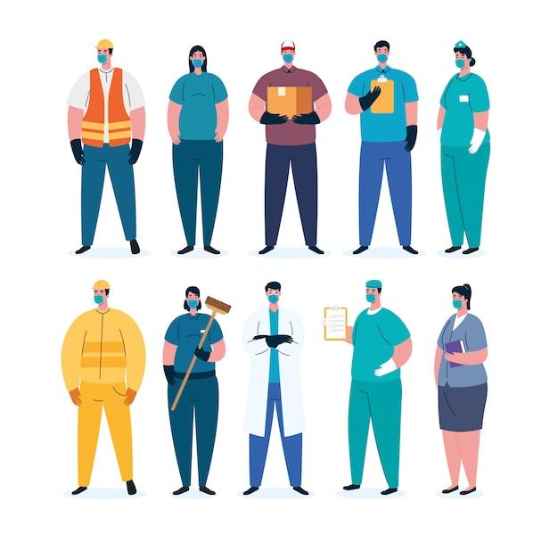 Covid 19 전염병에 의료 마스크를 사용하는 근로자 그룹