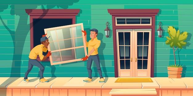 Рабочие устанавливают стеклянное окно в доме