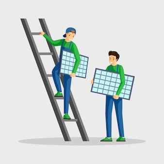 Работники устанавливая иллюстрацию панелей солнечных батарей. специалисты по установке фотоэлектрических модулей, инженер по лестнице персонажа из мультфильма. использование альтернативных источников энергии, возобновляемых источников энергии, устойчивого образа жизни