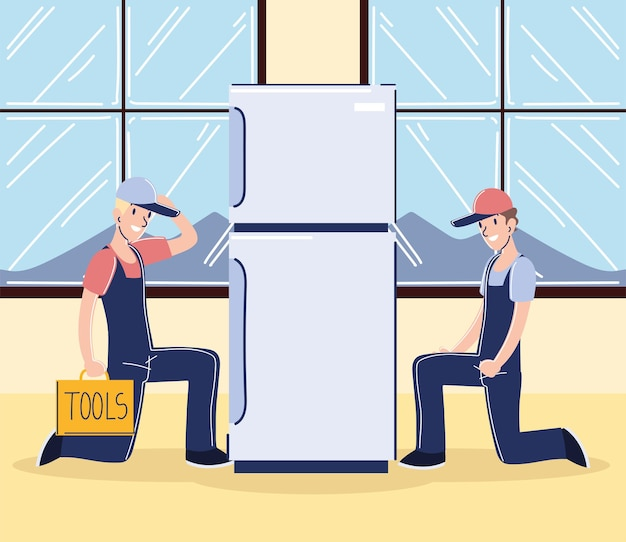 Workers male with fridge