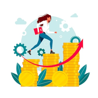 Workers, managers, woman, businessmen running up the career stairs of money. business goal achievement, career ladder progress, and advancement, career growth, salary increase. vector illustration