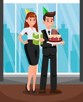 Workers at office party flat vector illustration