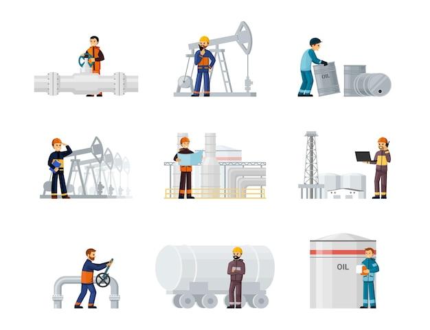 노동자 석유 및 가스 공장 설정합니다. 헬멧과 유니폼을 입은 석유 노동자는 파이프를 수리하고 원자재를 탱크와 배럴에 적재하는 산업 우물을 시추합니다. 벡터 만화 제작입니다.