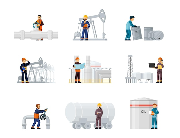 Workers oil and gas factories set. oil worker in helmets and uniforms repairing pipes and drilling industrial wells loading raw materials into tanks and barrels. vector cartoon production.