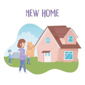 新しい家でソファと箱を運ぶ女性と一緒に家を移動する労働者