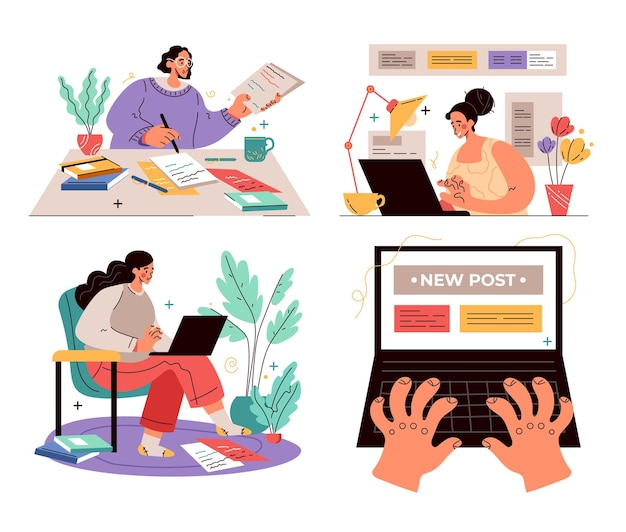 Workers people characters journalist copywriter content manager working concept