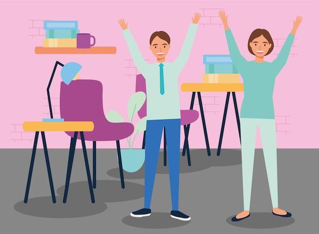 Workers practicing active break in workplace