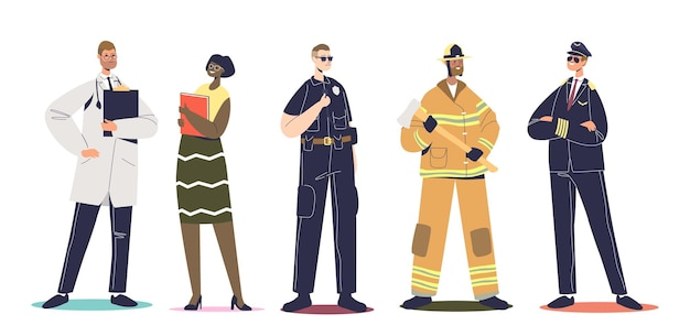 Workers in professional uniforms: pilot, firefighter, policeman cop, teacher and doctor isolated. set of people wearing working clothes. cartoon flat vector illustration