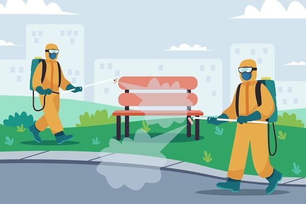 Lavoratori che forniscono servizi di pulizia negli spazi pubblici Vettore gratuito