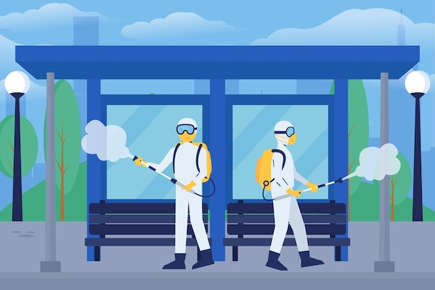 Workers providing cleaning service in public spaces